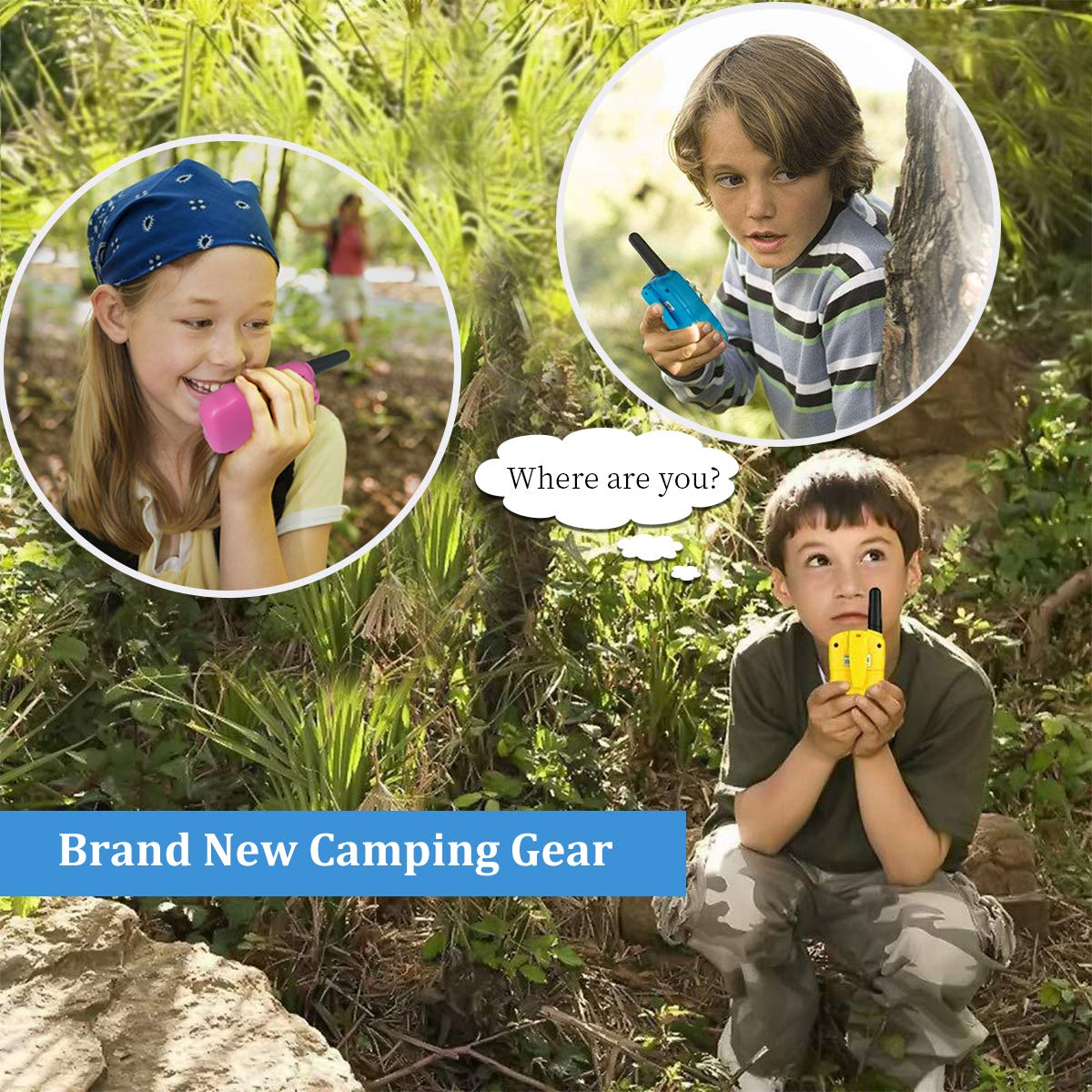 Outdoor Toys for 5-10 Year Old Boys Girls Pussan Kids Walkie Talkies 3 Pack Long Range 2 Miles 22 Channels Kids Camping Outside Summer Games Walky Talky for Children Gifts by Pussan (Image #5)