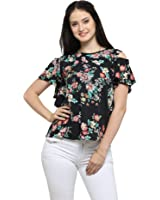 Serein Women's Top (Black printed Crepe top with cold shoulder and ruffles)