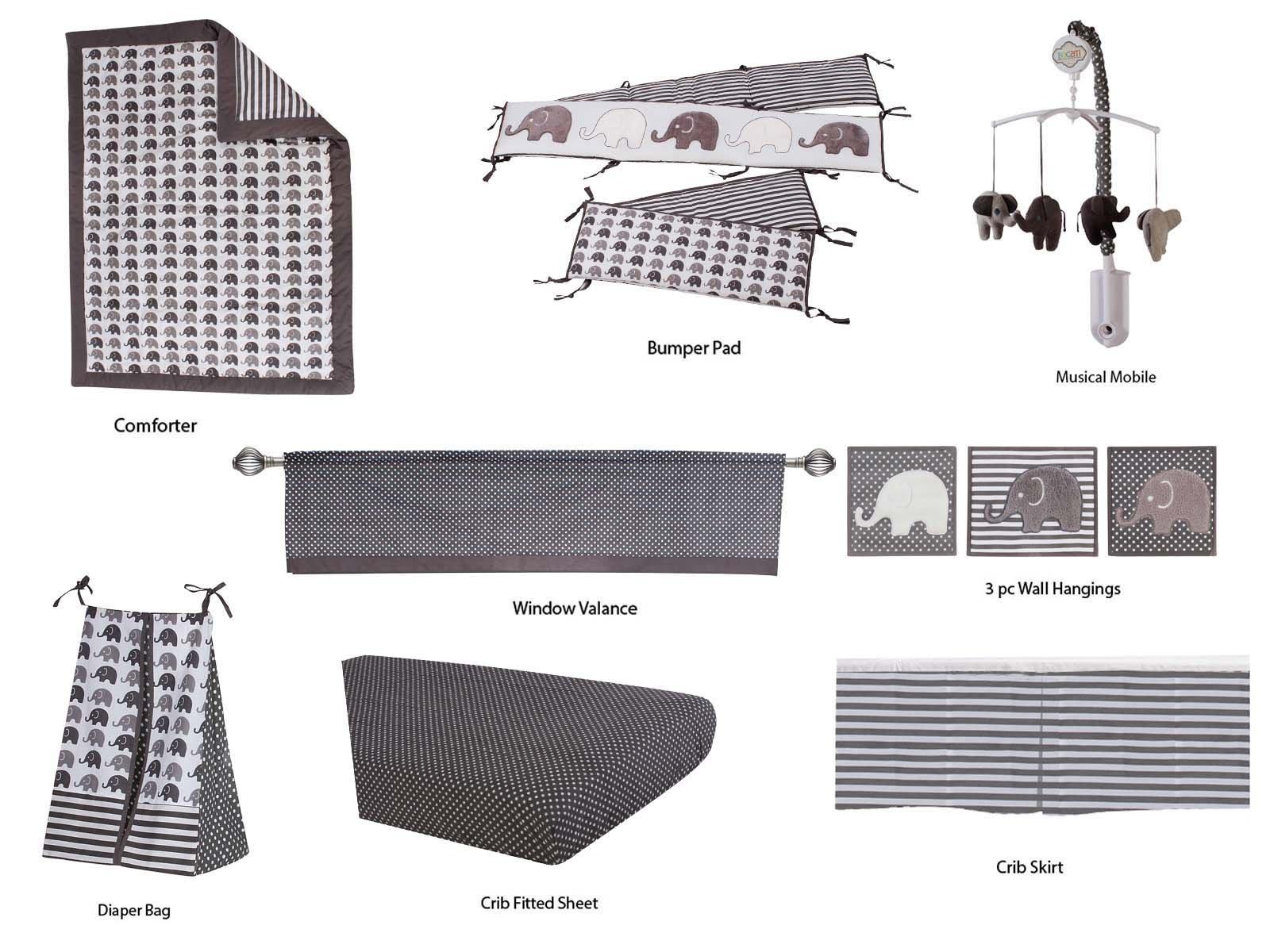 Bacati Elephants Unisex 10 Piece Nursery-in-A-Bag Crib Bedding Set, Grey by Bacati