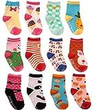 LGNTXDC 12 pares de calcetines antideslizantes para bebés unisex - Calcetines para niños pequeños de 1 a 3 años, lindos…