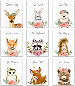 9 Pieces Woodland Nursery Wall Art Prints Cute Woodland Floral Crown Animals Motivational Posters Pictures Wall Decor for Baby Kids Room Home Decorations (Unframed, 8 x 10 Inch)