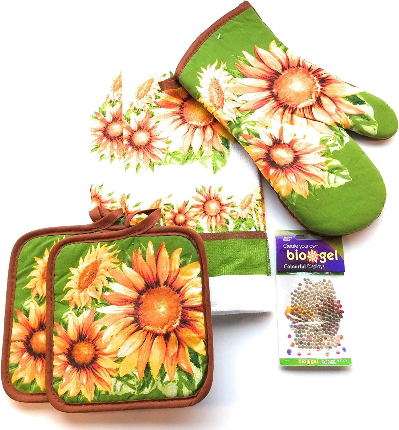 Village Gifts Sunflower Themed Kitchen Towel Set (Includes: 1 Oven Mitt, 2 Pot Holders and 2 Dish Towels).