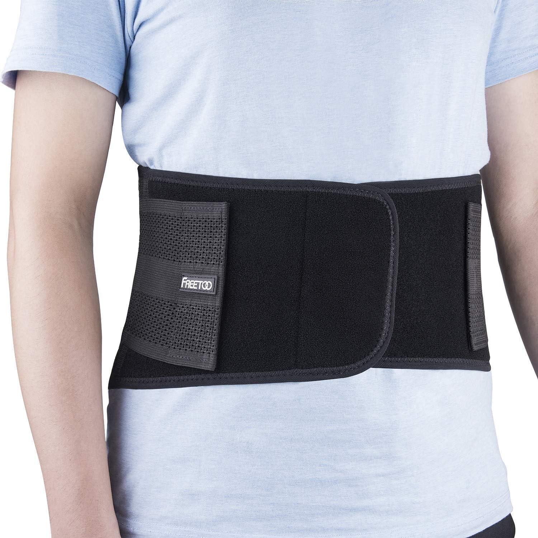 FREETOO Cinturón Lumbar Soporte Lumbar para la Espalda Ayuda de la Cintura para Aliviar El Dolor de Espalda y Prevenir Daños, Unisex Negr