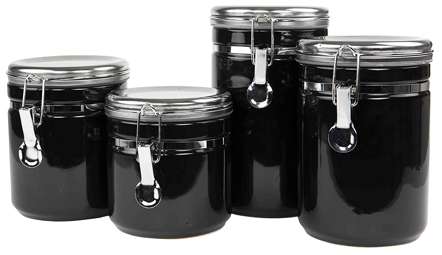 Home Basics 4PC Canister Food Storage Set with Stainless Steel Top (Black)