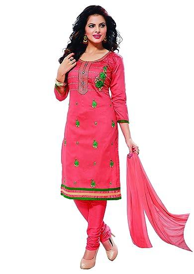 844c5e145649 Oomph! Cotton Embroidered Salwar Suit Dupatta Dress Material - Peach ...