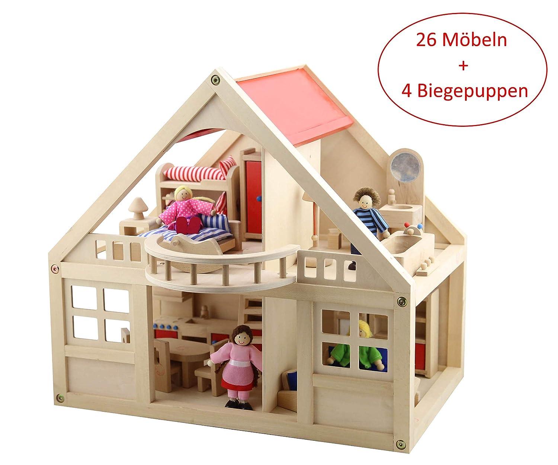 calidad garantizada B&Julian® B&Julian® B&Julian® Grande Madera de casa de muñecas con 26 Muebles muñecas y Accesorios para niños Dos Etage  ¡envío gratis!