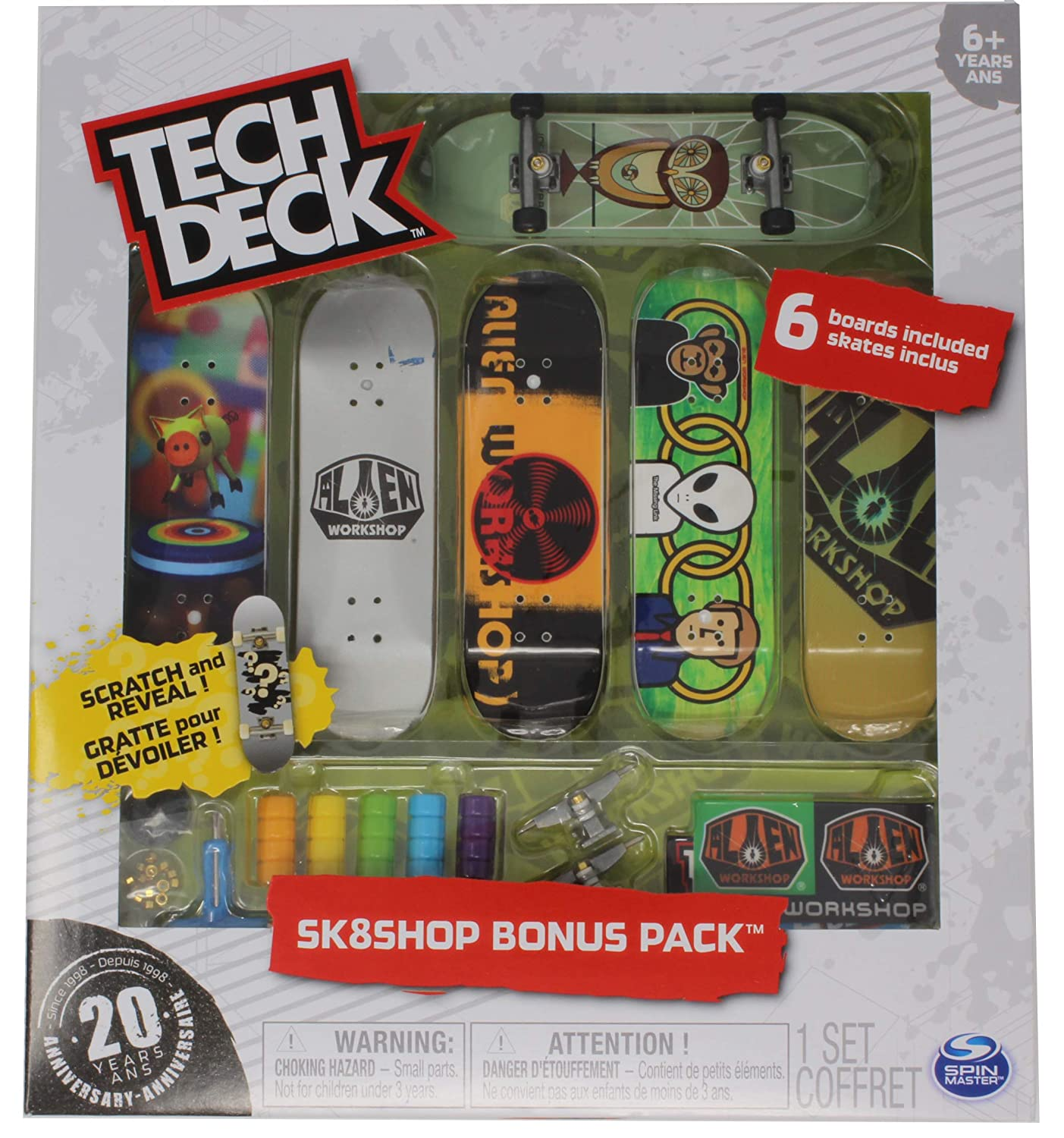 Tech Deck Alien Workshop Skateboards Sk8shop Bonus Pack with 6 Fingerboards 20th Anniversary