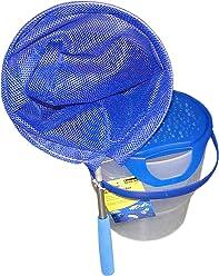 Idena 40081 - Fischeimer mit Henkel, Teleskopkescher, blau