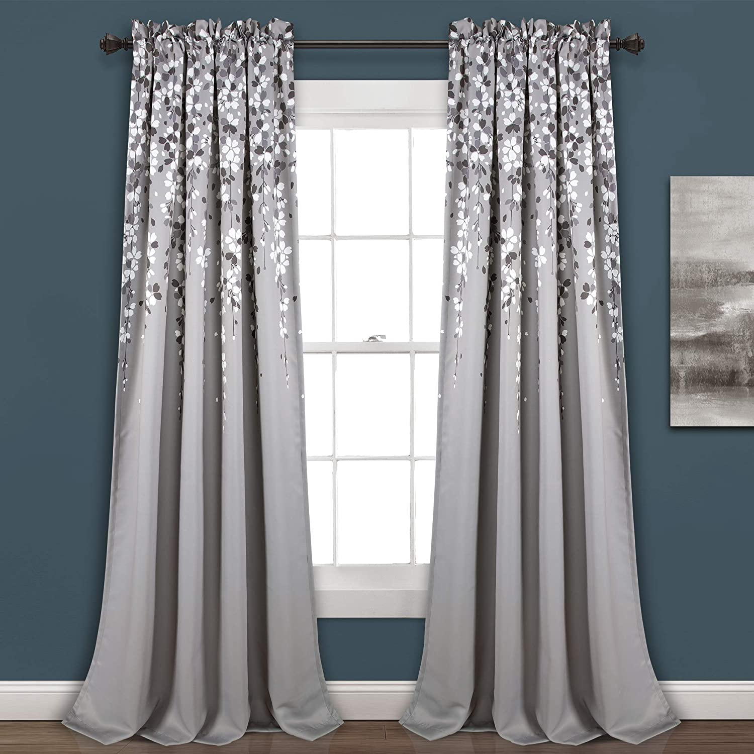 "Lush Decor, Gray Weeping Flowers Room Darkening Window Panel Curtain Set (Pair), 95"" x 52, 95"