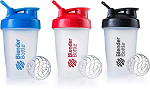 BlenderBottle Classic Shaker Bottle Perfect for Protein Shakes and Pre Workout, 20-Ounce (3 Pack), Blue, Red, Black
