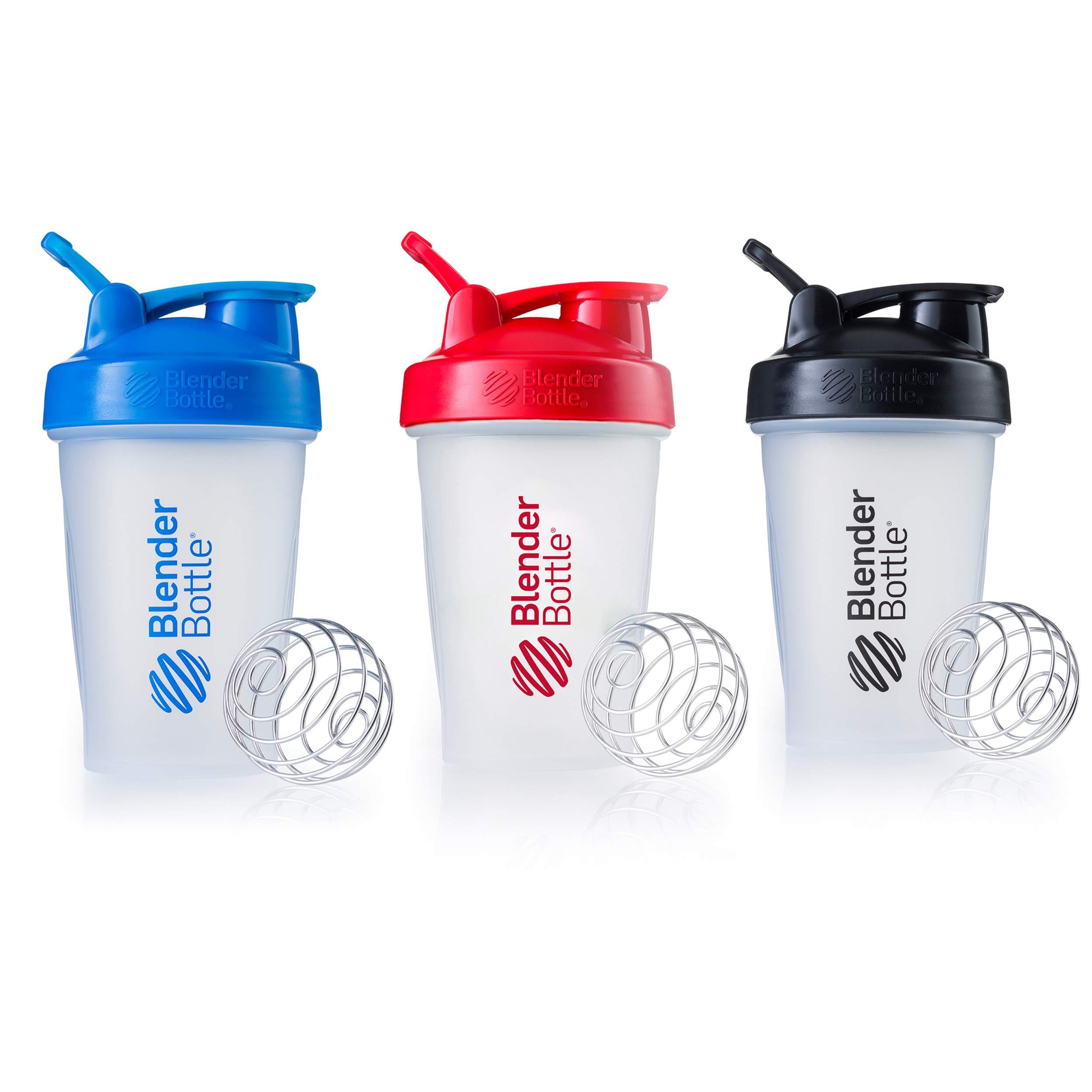 Blender Bottle Classic Loop Top Shaker Bottle, Blue Red Black, 20-Ounce 3-Pack