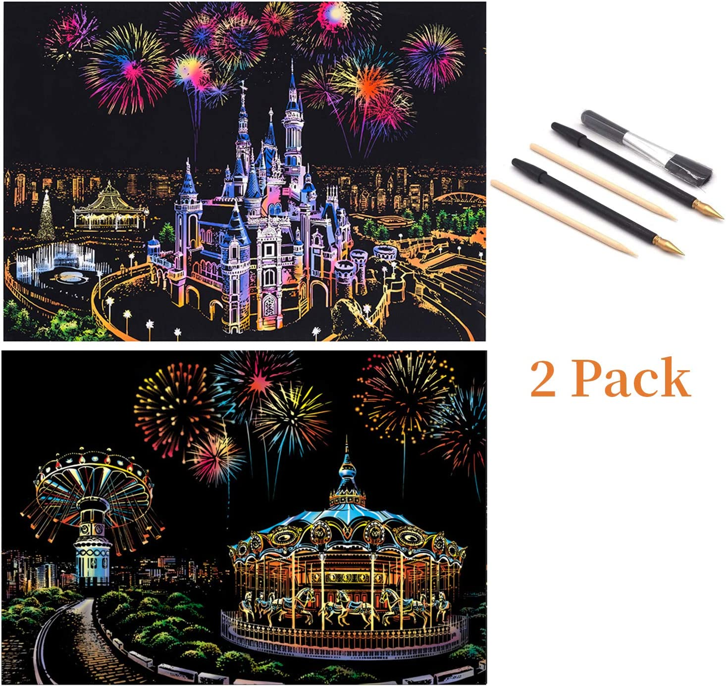 4 Pack Scratch Painting Set with Scratch Paper Scratch Drawing Board Blank Board for Adults and Kids DIY Art Craft 16 X 11.2 Inches Scenery
