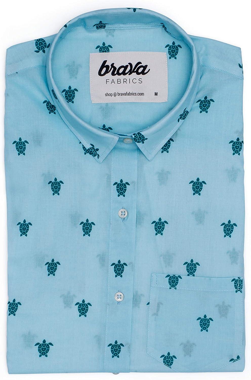 Brava Fabrics | Blusa para Mujer | Camisa Azul Estampada para Mujer | Modelo Turtle with Love | Talla L: Amazon.es: Ropa y accesorios