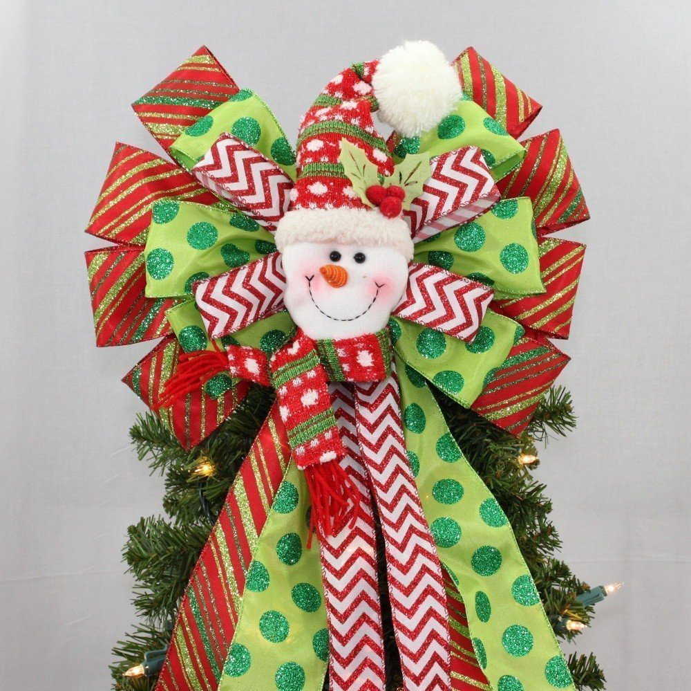 Jolly Snowman Christmas Tree Topper Bow - 13