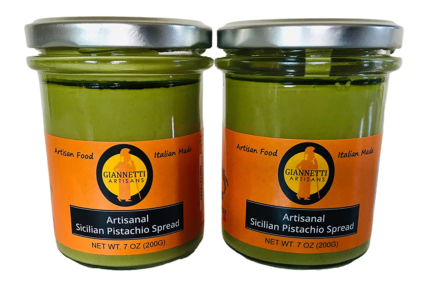 Giannetti Artisans Imported Sicilian Pistachio Spread with NO PALM OIL & 45% Sicilian Pistachio - 2 pack of 7.05 oz Jars