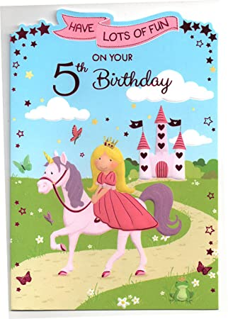 Birthday Card For Five 5 Year Old Girl