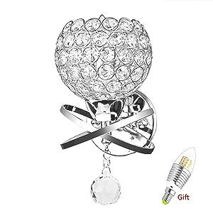 Lampes murales en cristal, ONEVER Lampadaire mural décoratif style moderne pour décoration bricolage avec ampoule E14 inclus comme cadeau (argent) [Classe énergétique A +]