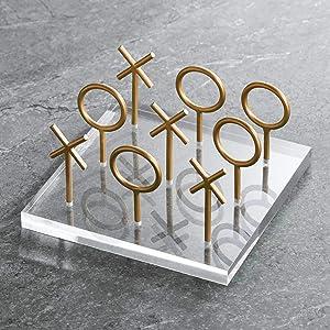 """Studio 55D Gold 8 1/2"""" Wide Tic-Tac-Toe Decorative Sculpture"""