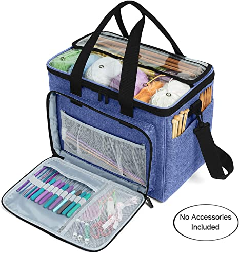 Knitting Bag Portable Yarn Storage Tote Organizer with Multi-Compartment Knitting Needles and Accessories Dark Blue