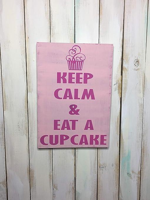 CELYCASY Cartel de Madera para Cupcakes, Texto en inglés ...