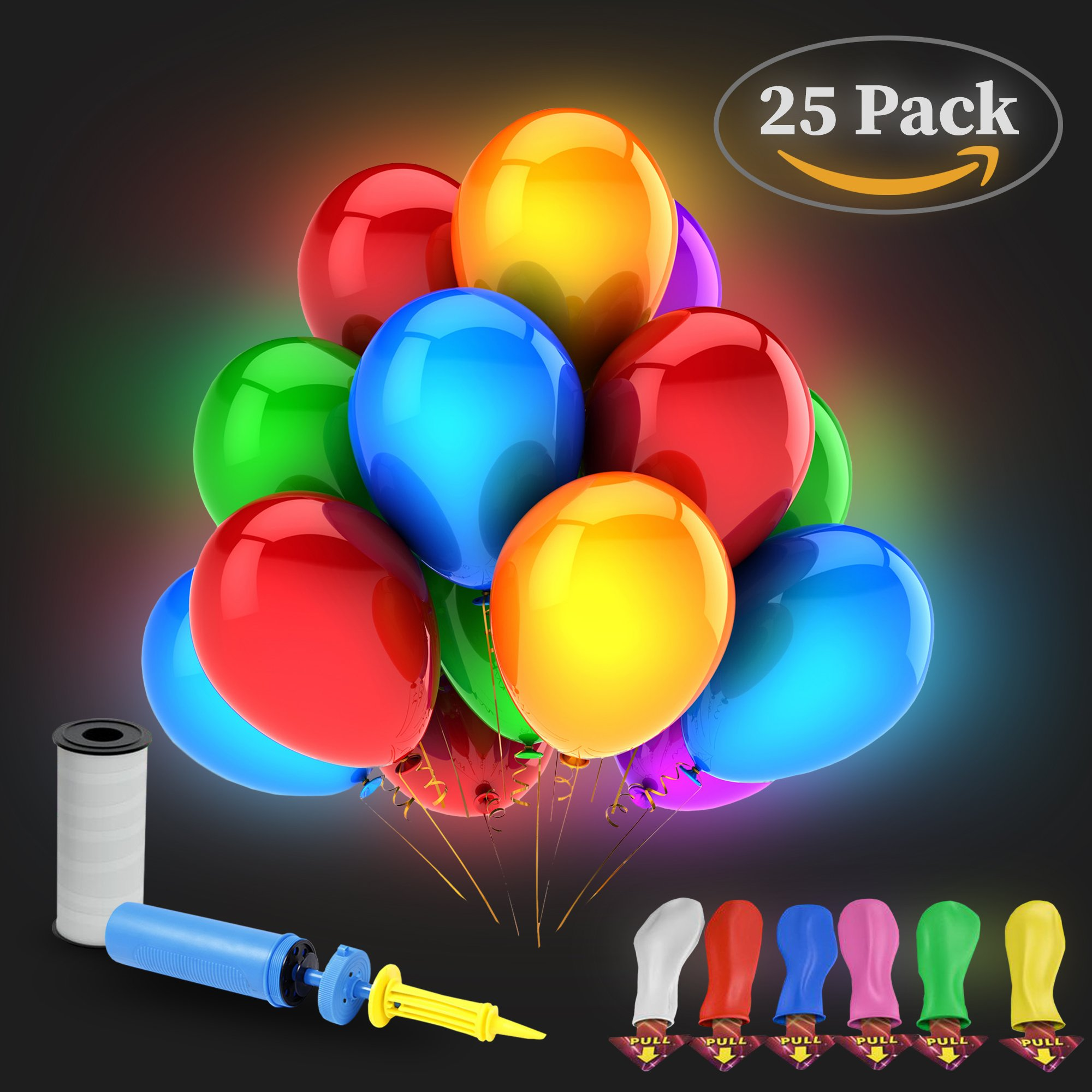 25 pack Led Light up Balloons mixed colors Lasts 12-24 hours Ideal decorations for wedding and Birthday Parties Fillable with Helium or Air (Bonus pump and Ribbon) - by Komaniko