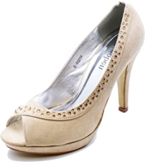 0d58897432 HeelzSoHigh Ladies Beige Diamante Peeptoe Slip-On Smart Court Work Evening Shoes  Sizes 3-
