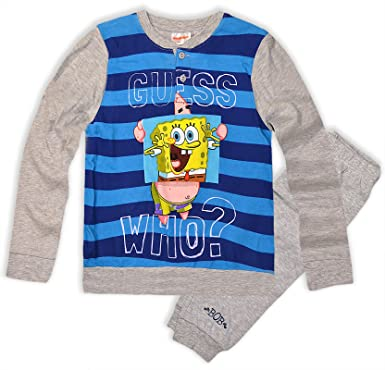 boys spongebob squarepants pyjamas kids cotton pjs set new amazon