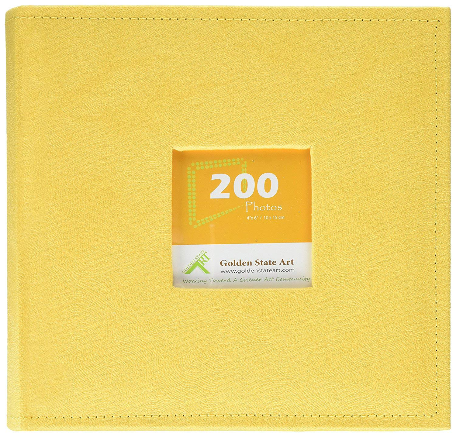 Golden State Art Photo Album, Holds 200 4''x6'' Pictures, 2 Per Page, Suede Cover, CL55058-8 Yellow