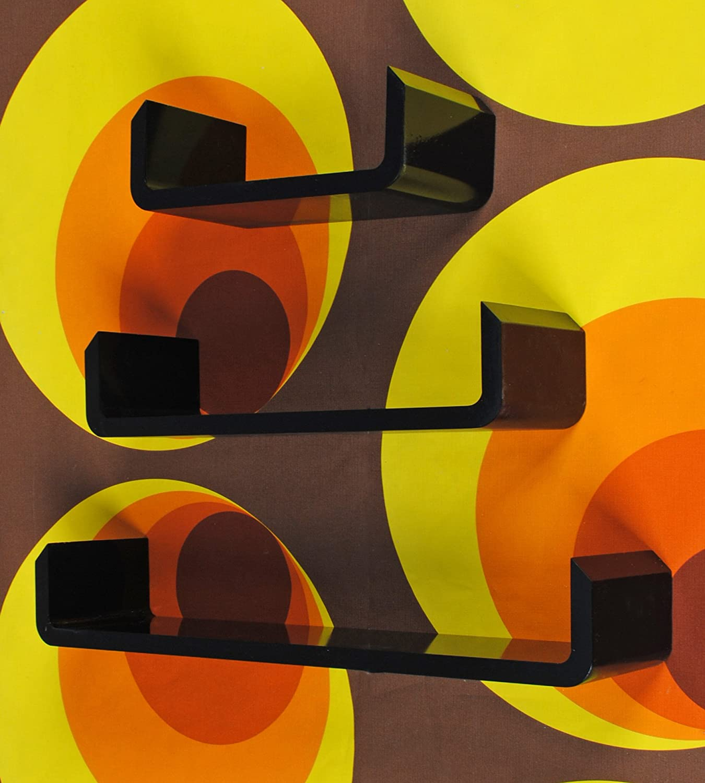 ts-ideen 5771 Juego de 3 Soportes de Pared con Diseño de Moda con Esquinas Redondeadas, Madera DM, Color Negro