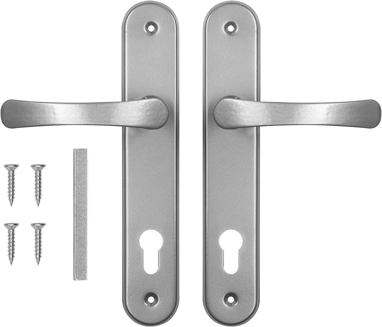 ADGO Juego de manillas de puerta para la caja de la puerta 90 izquierda y derecha, de aluminio galvanizado (plata)