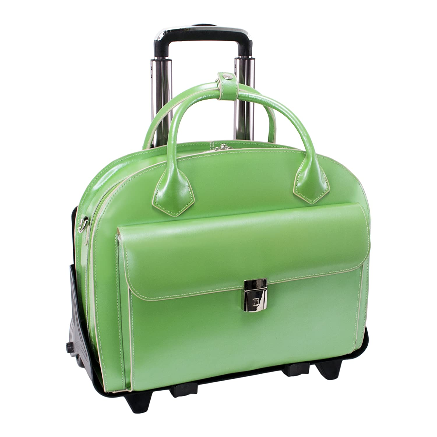 Detachable Wheeled Women's Laptop Briefcase Leather Mid Size Green GLEN ELLYN | Mcklein 94361