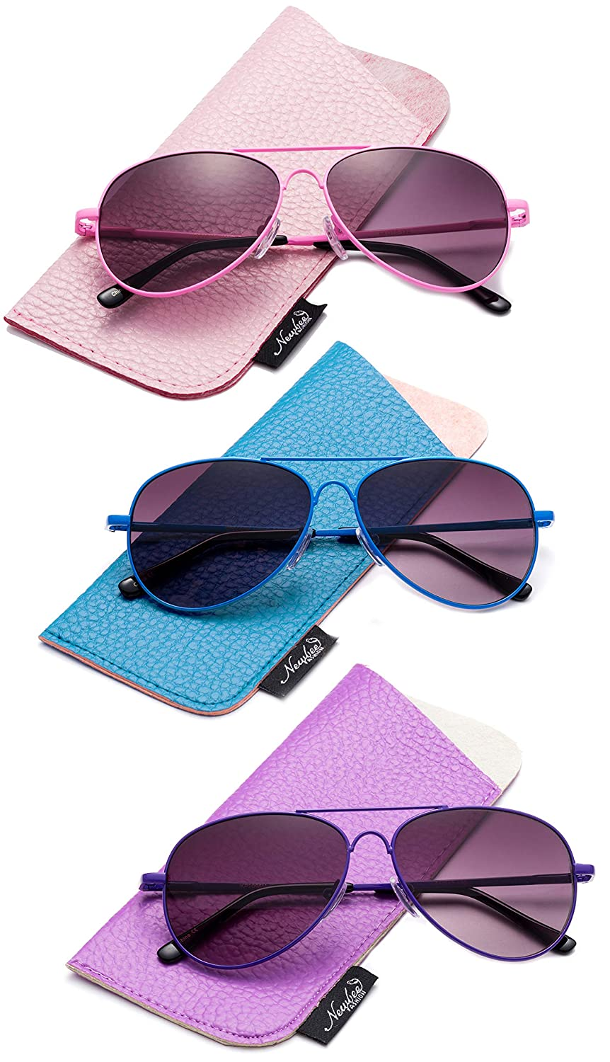 Kids Girls Colored Aviator Sunglasses for Kids UV Protection Spring Hinge w//Pouch Fashion Aviators for Girls Newbee Fashion