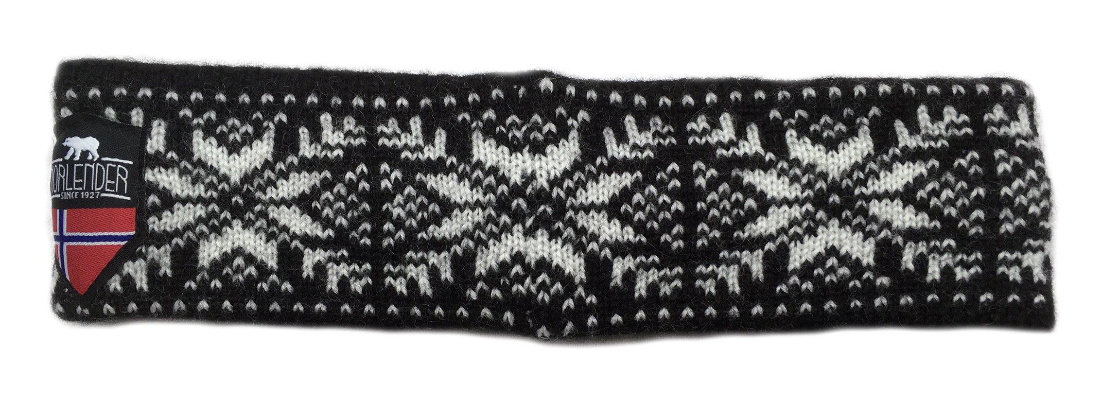 Norlender 100% Norwegian Wool Dot Print Headband (Black) by Norlender