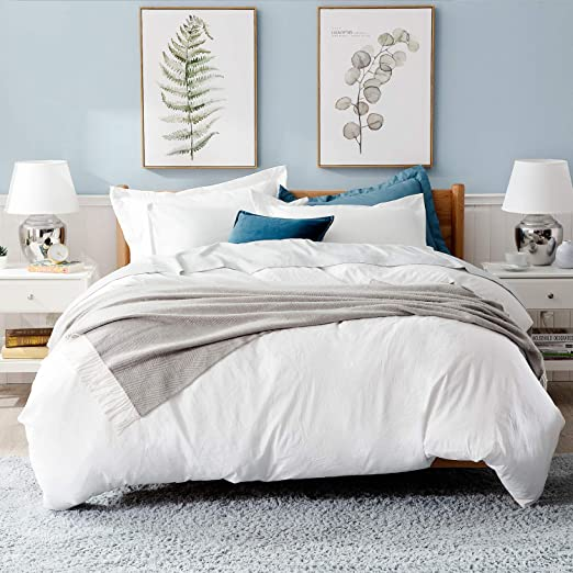 Amazon.com: Bedsure White Washed Duvet Cover Set 90x90 Full Queen
