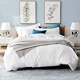 "Bedsure White Washed Duvet Cover Set Full/Queen Size with Zipper Closure,Ultra Soft Hypoallergenic Comforter Cover Sets 3 Pieces (1 Duvet Cover + 2 Pillow Shams), 90""X90"""