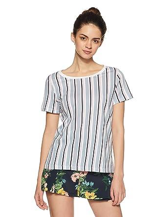7837c516bbb6 VERO MODA Women s Striped Loose Fit T-Shirt  Amazon.in  Clothing ...