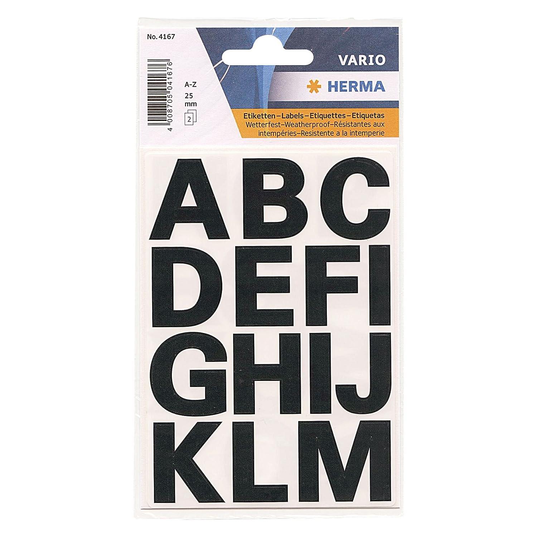 HERMA Lettres Adhésives Resistantes aux intempéries H25mm A-Z Noire film transparent best