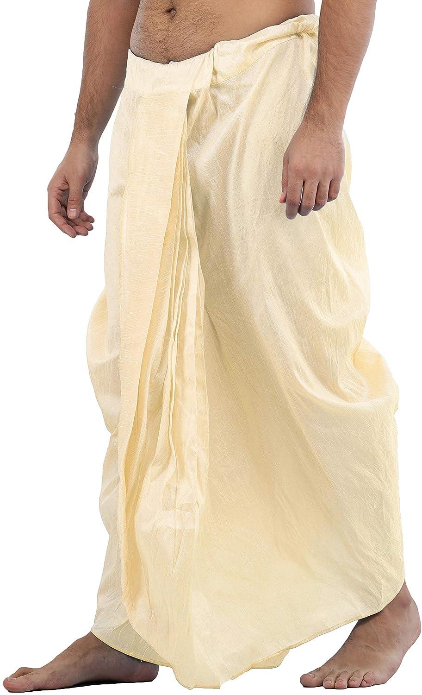Maenner-Dhoti-Dupion-Silk-Plain-handgefertigt-fuer-Pooja-Casual-Hochzeit-Wear Indexbild 56