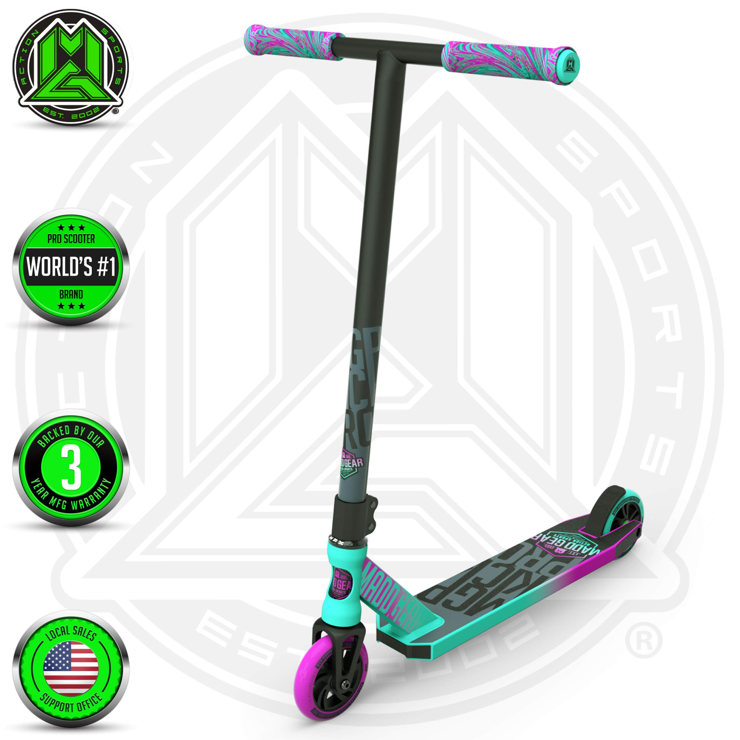 Madd Gear MGP Action Sports Kick Pro Scooter (Teal/Pink 2019) by Madd Gear