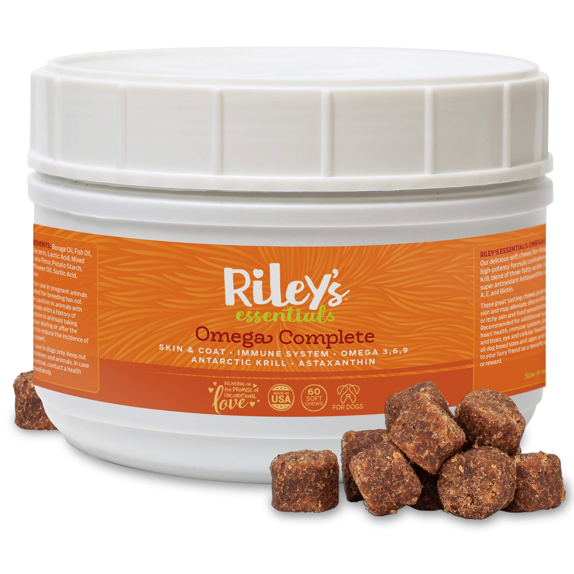 Riley's Omega 3 for Dogs Itching Skin Relief Without Dog Allergy Medicine, Krill Fish Oil Supplement for Dogs with Omega 3 6 9, Astaxanthin for a Healthy Skin and Coat & Immune System - 60 Soft Chews by Riley's