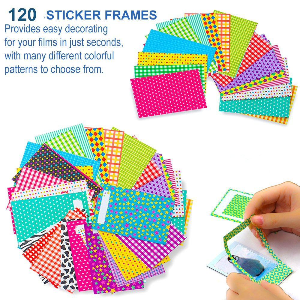5 in 1 Giant Colorful Bundle Kit Accessories for Fujifilm Instax Mini 9/8 Camera - Assorted Accessory Pack of 120 Sticker Frames + 10 Plastic Desk Frames + 20 Hanging Frames + MORE by Deals Number One (Image #4)