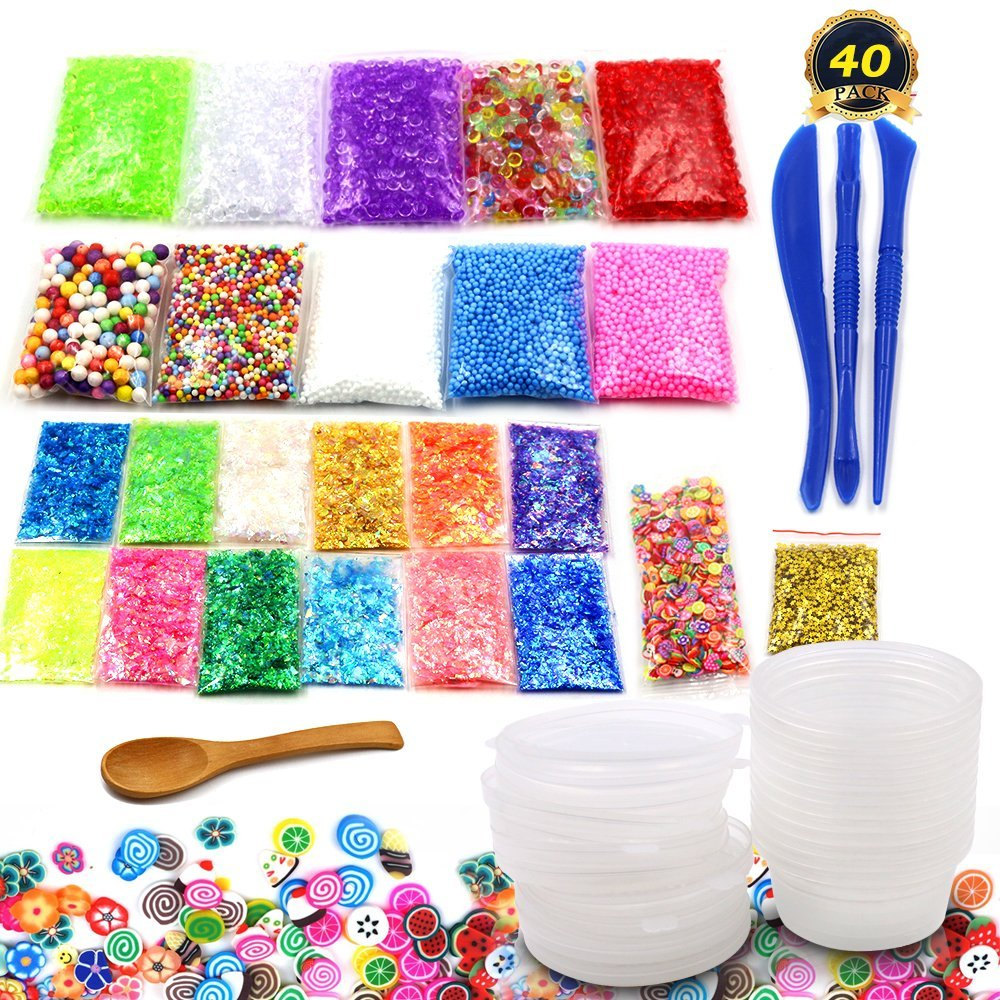 Bespick Slime Making Kit for Kids Slime Supplies Tools for DIY Homemade Slime ,Vase and Doll filling, Party Decor(40 PACK)