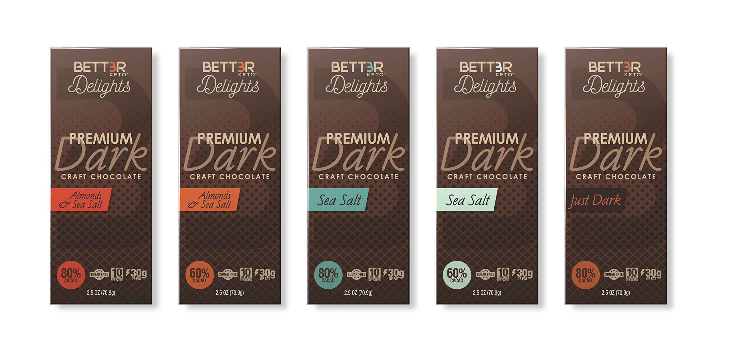 BETTER KETO Snacks 80% Dark Chocolate Bars with Sea Salt | Sugar & Gluten Free Healthy Snacks | Low Carb High Fat Low Calorie Keto, Paleo & Vegan Diet Dessert | 2.5 Oz 24-Pack by BETT3R KETO (Image #4)