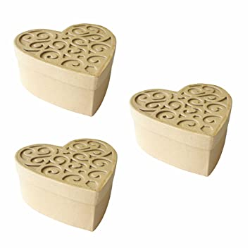 Creleo 791213 Cajas de Cartón Corazón con ornamentos 3 pieza 143 x 143 x 62 mm: Amazon.es: Oficina y papelería