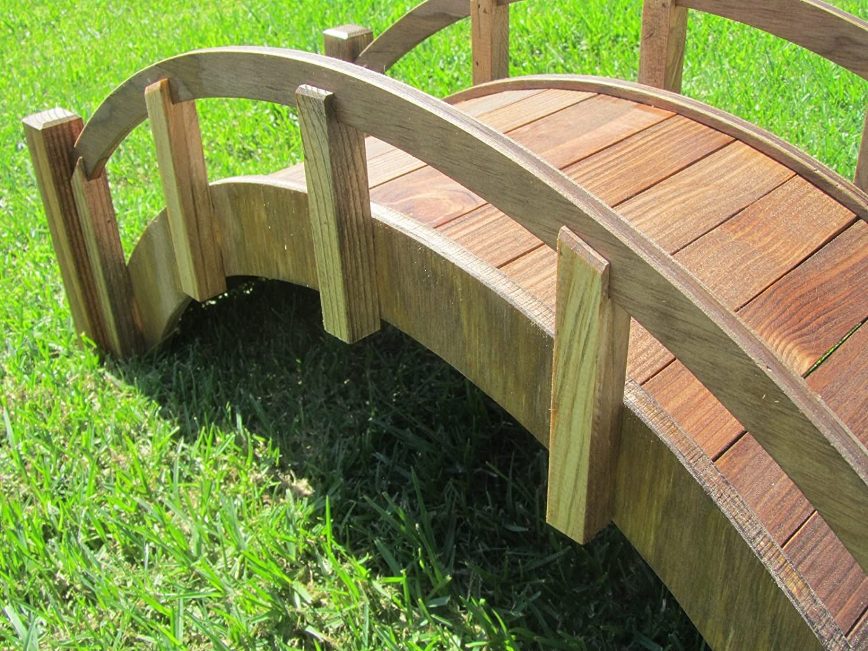 amazoncom samsgazebos miniature japanese treated wood garden bridge 29 inch brown garden outdoor