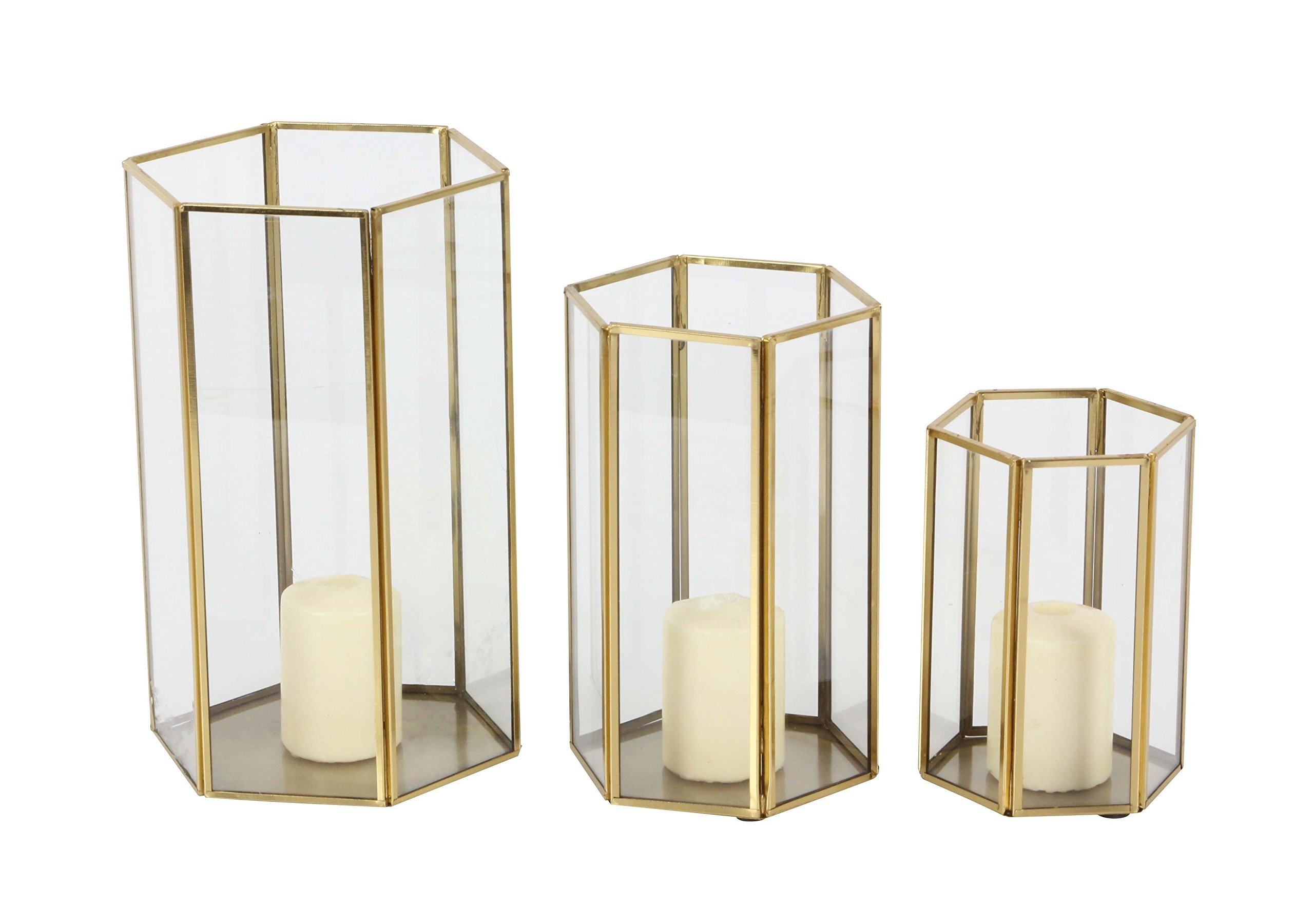 Deco 79 57378 Hexagonal Prism-Shaped Iron Glass Candle Lanterns, 6'' x 8'' x 10'', Gold/Clear