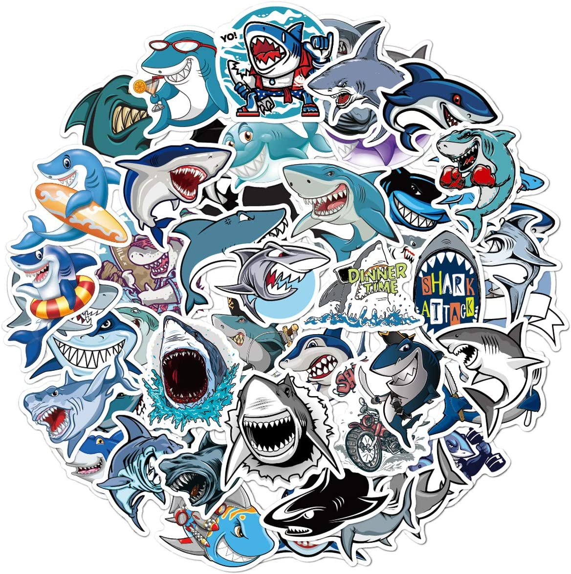 Shark Sticker Pack of 50 Stickers Sea Shark Stickers for Laptops Hydro Flasks Water Bottles Luggage