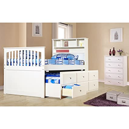 LYKE Home Ava Twin Captain Trundle Bed With Bookshelf And Drawers White