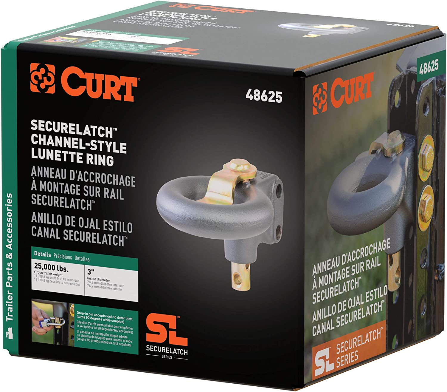 3-Inch ID 25,000 Pounds CURT 48625 SecureLatch Channel-Style ...