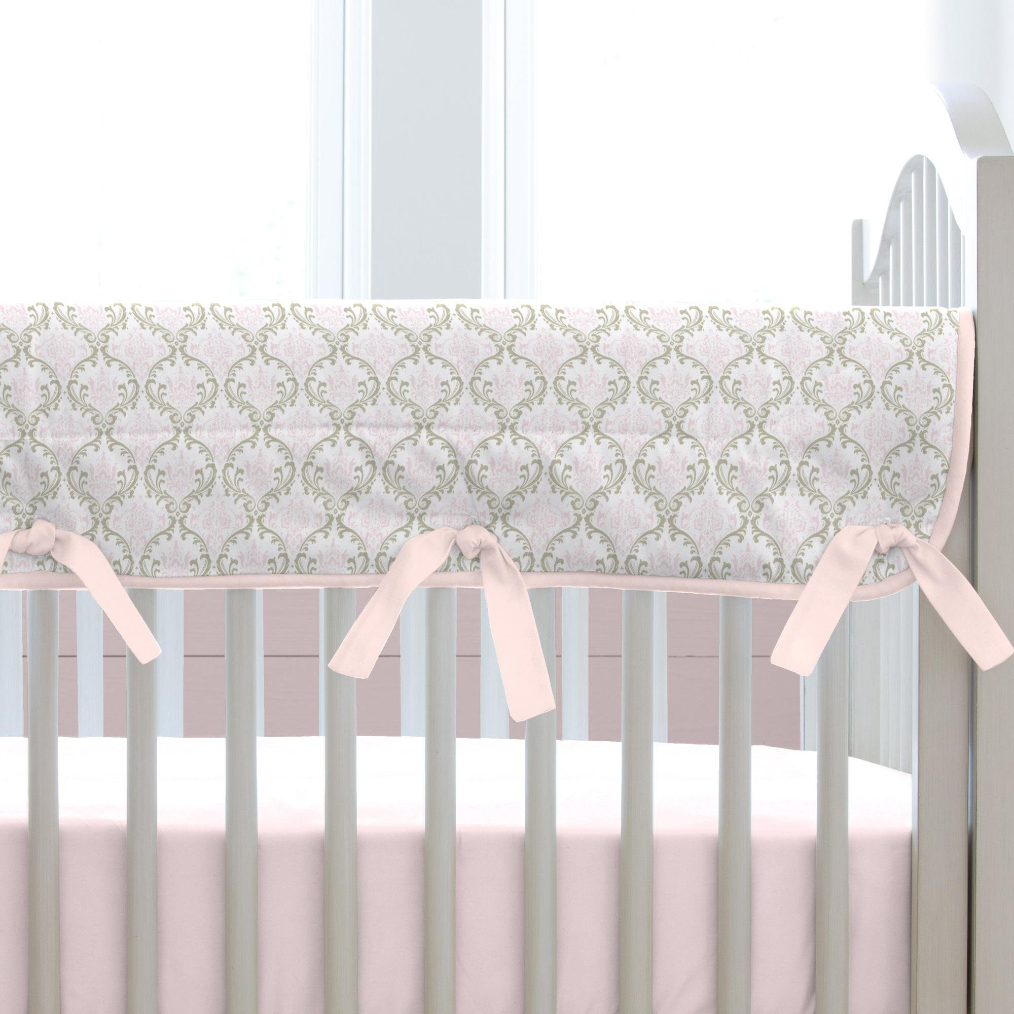 Carousel Designs Pink and Taupe Damask Crib Rail Cover by Carousel Designs